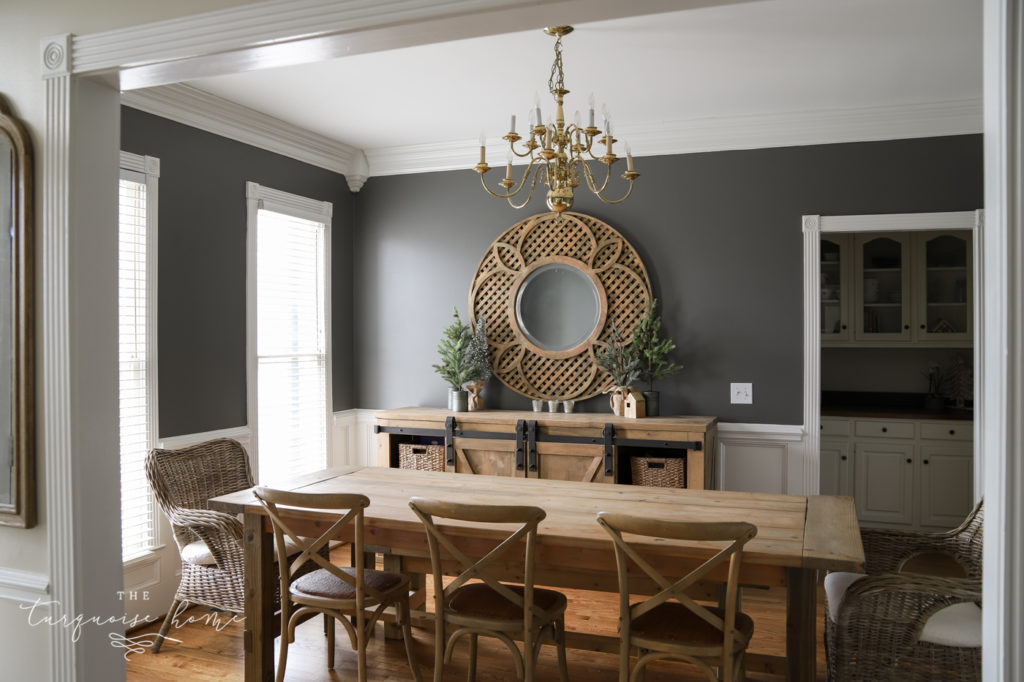 Kendall Charcoal painted walls in the dining room