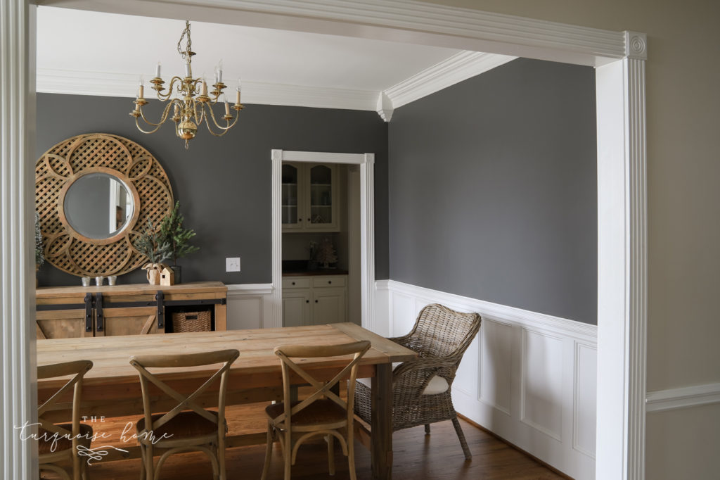 Large blank wall with kendall charcoal paint - perfect for some art!