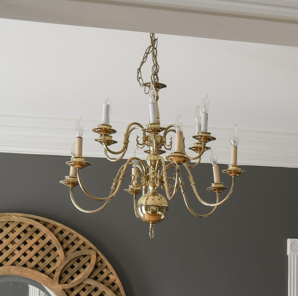 80's style shiny brass dining room chandelier