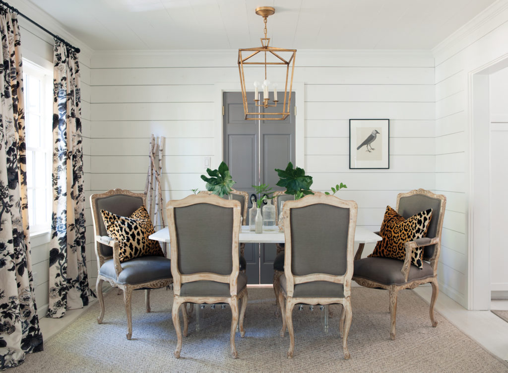 Dining Room with Shiplap Walls and Darlana Pendant Chandelier