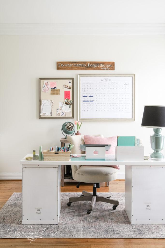 Shoji White by Sherwin Williams in feminine office space