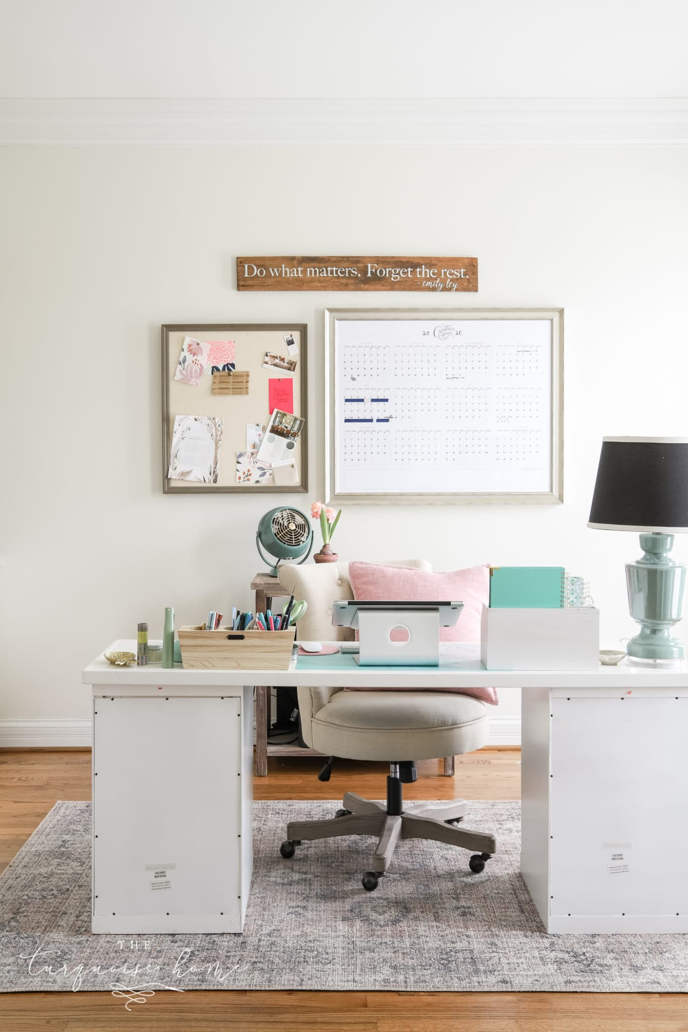 Shoji White by Sherwin Williams in feminine office space