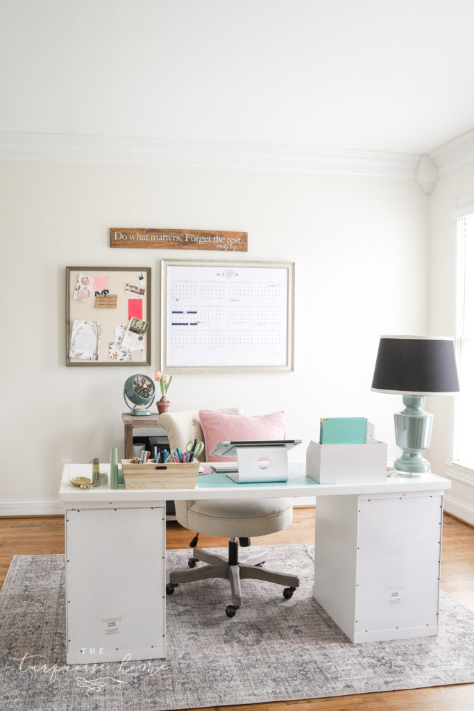 Home Office with Shoji White painted walls from Sherwin Williams