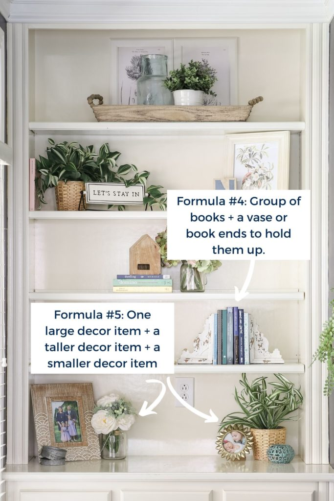 White built-in bookshelves with beautiful decor: greenery, art & books - using easy style formulas