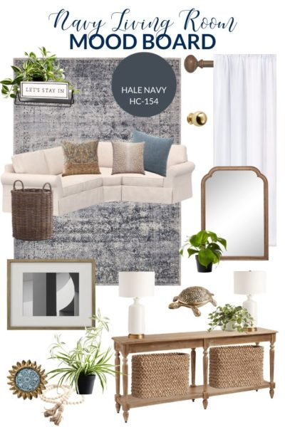 Navy Living Room Design Board | PB Comfort Sectional with blue vintage rug and white lamps