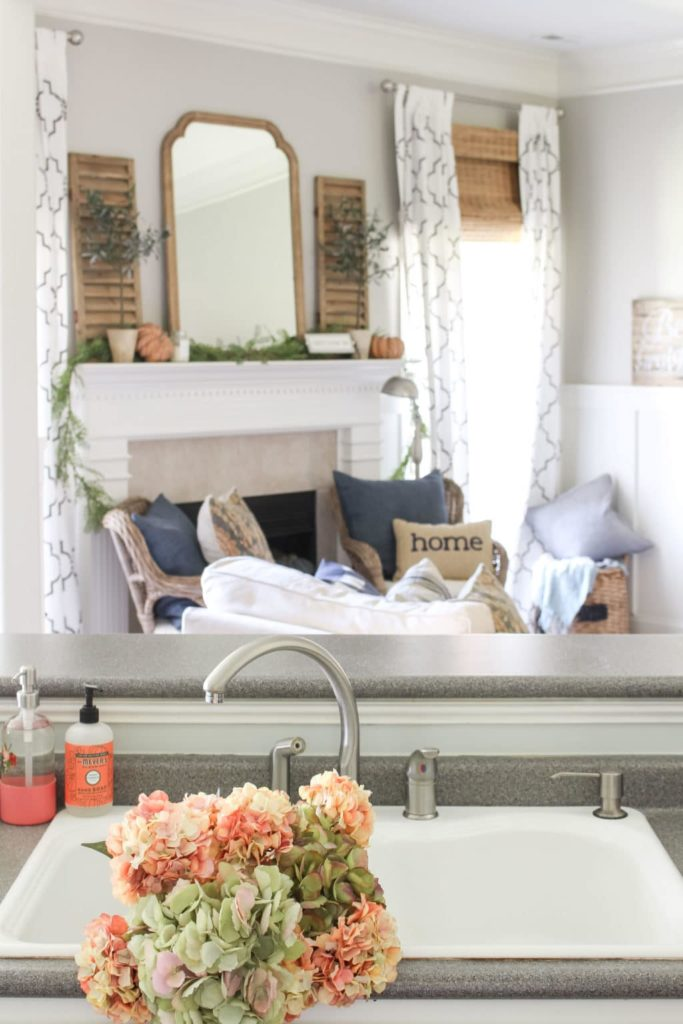 Farmhouse Fall Living Room and Kitchen Sink | What is Farmhouse Style?