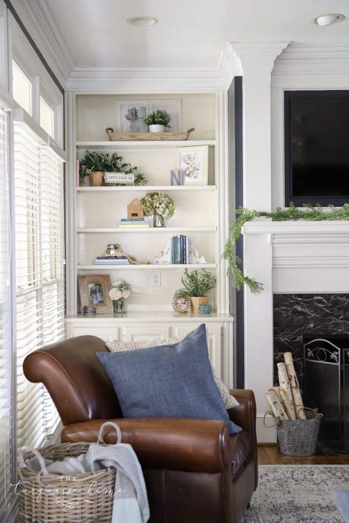 Hale Navy Living Room with White Built-In Bookcases