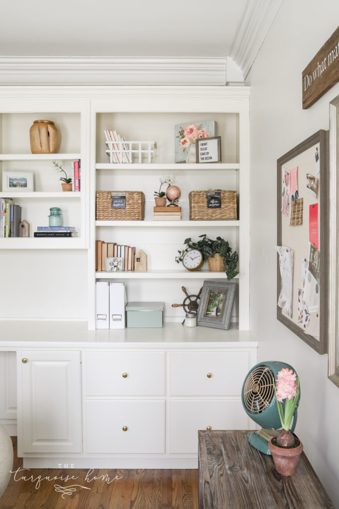 Feminine Home Office with white built-ins