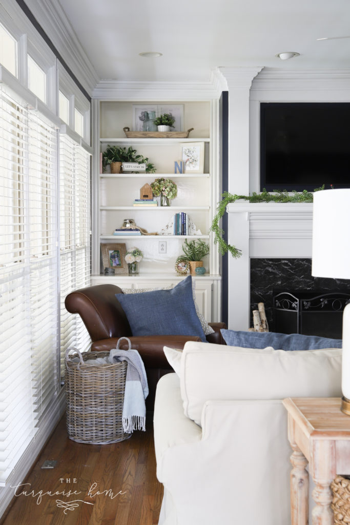 White trim in navy living room