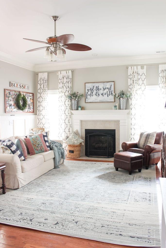 Farmhouse Living Room with blue rug