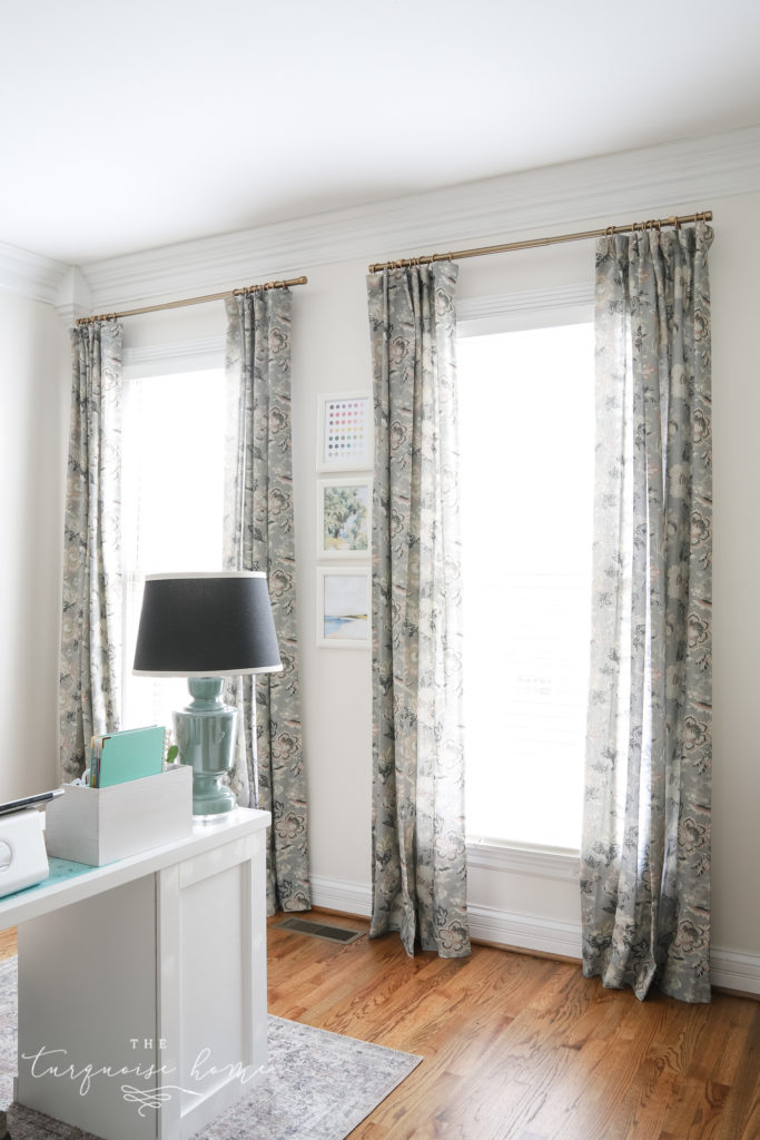 Floral gray and blush curtains