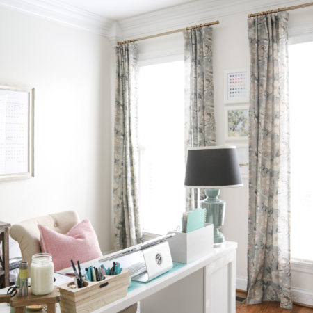 Feminine Office with Gray and Blush Curtains