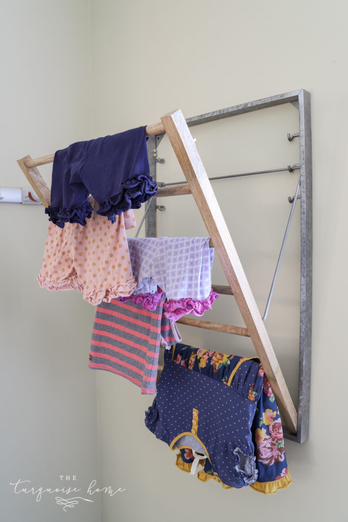 Wood and galvanized metal clothes drying rack