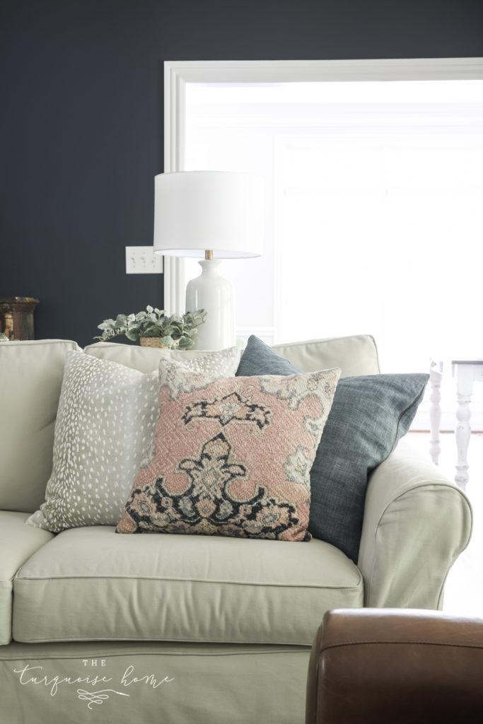 Throw Pillow Arrangement on a Sofa