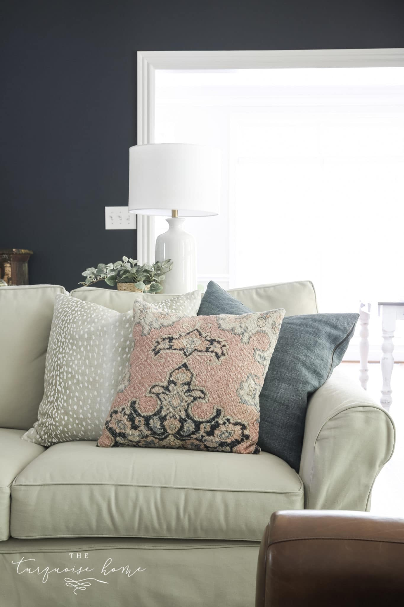 Throw Pillow Arrangement on a Sofa