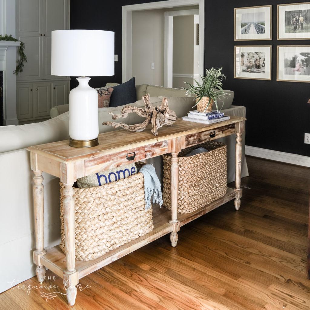 Asymmetrical Decor on a Sofa Table