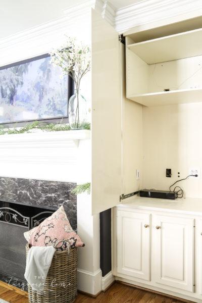 TV over mantel with hidden wires