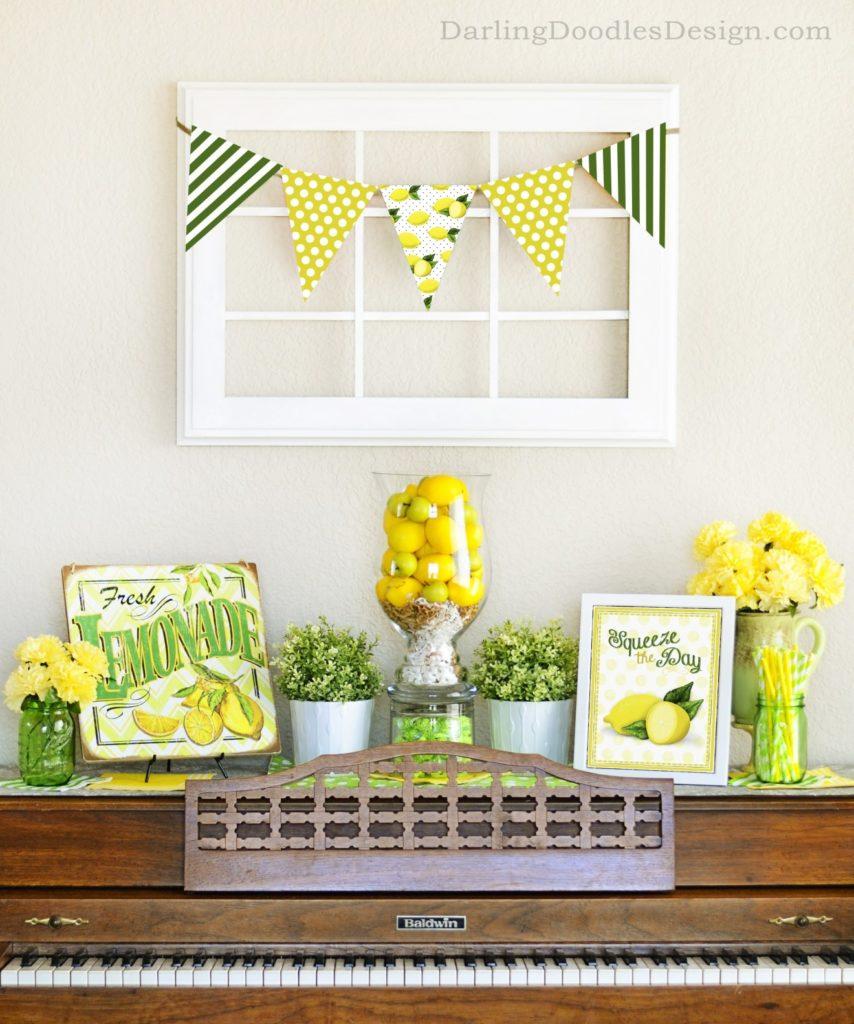 bright yellow and green lemons and sunshine mantel decor