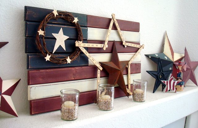 red, white, and blue farmhouse stars and stripes mantel decor