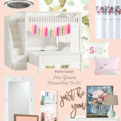 Blush Shared Girls Bedroom Mood Board