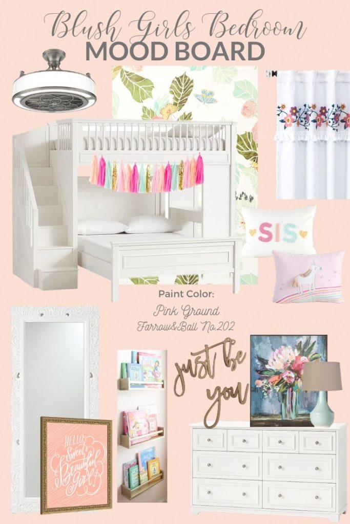 Blush Shared Girls Bedroom Mood Board