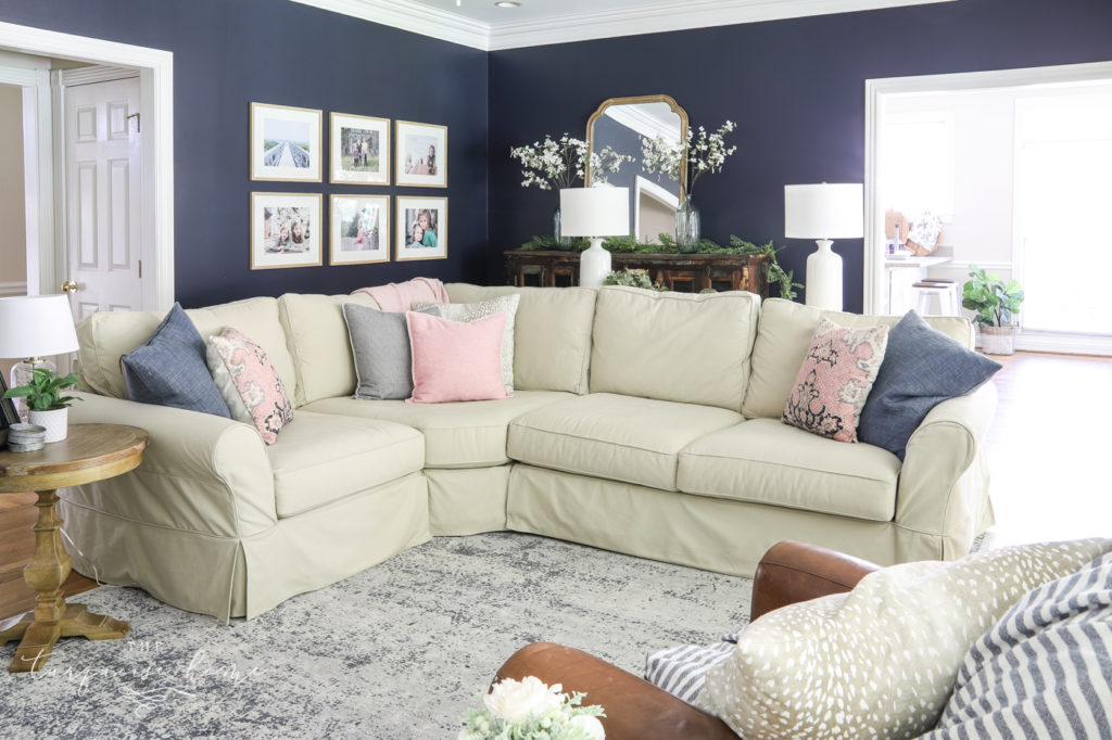 Sectional Sofa in a Navy Living Room