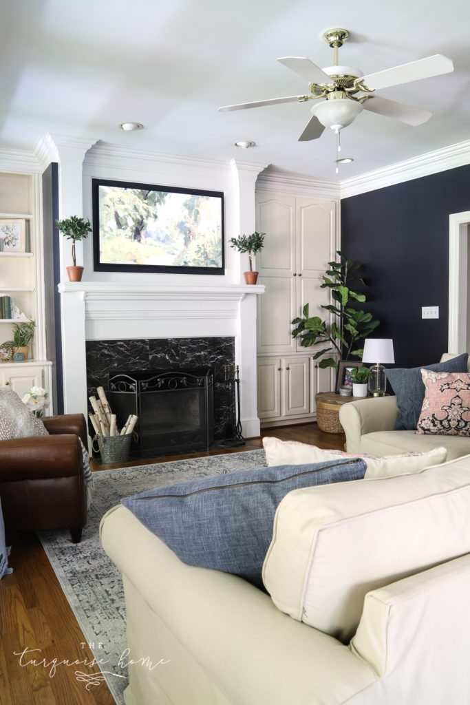 Navy Living Room with white trim