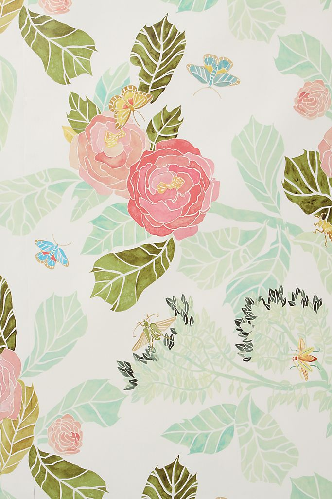 Watercolor Flora Wallpaper from Anthropologie