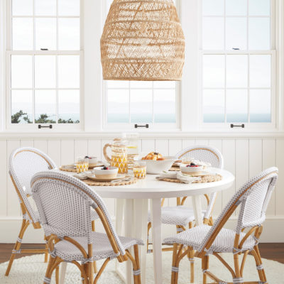 Rattan Pendant Light over a Breakfast Nook