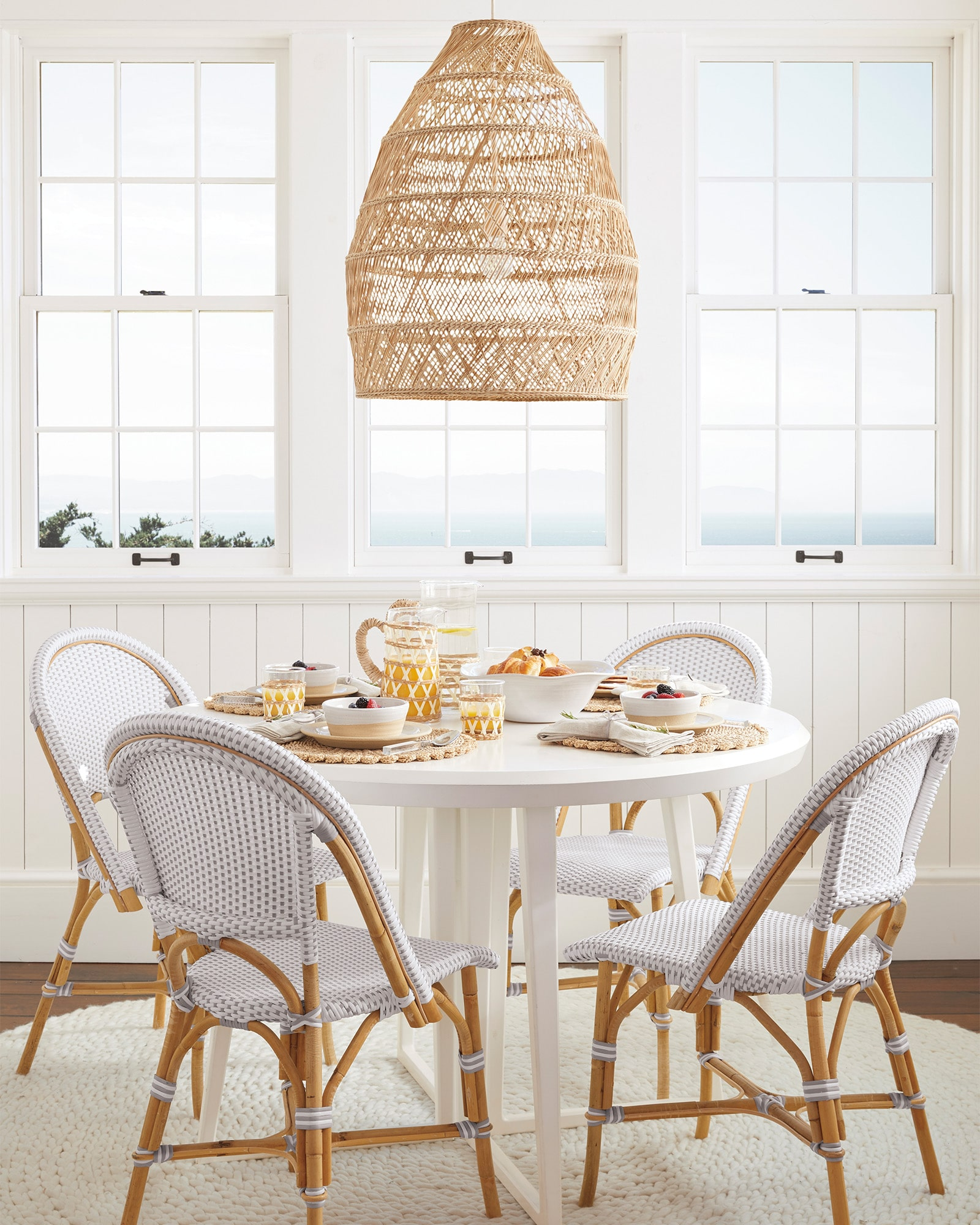 Rattan Pendant Light over a Breakfast Nook