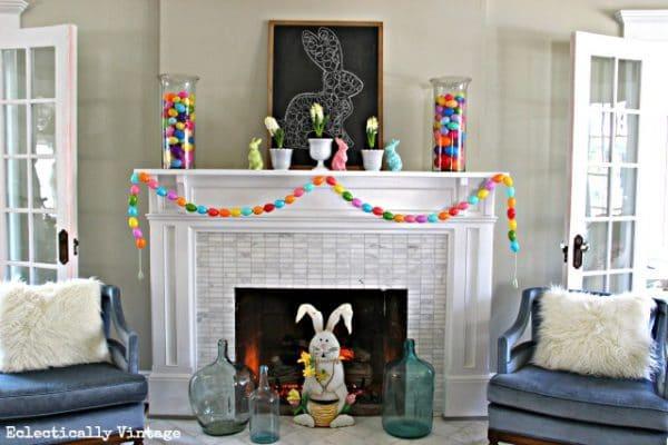 Colorful easter egg springtime mantel decorations