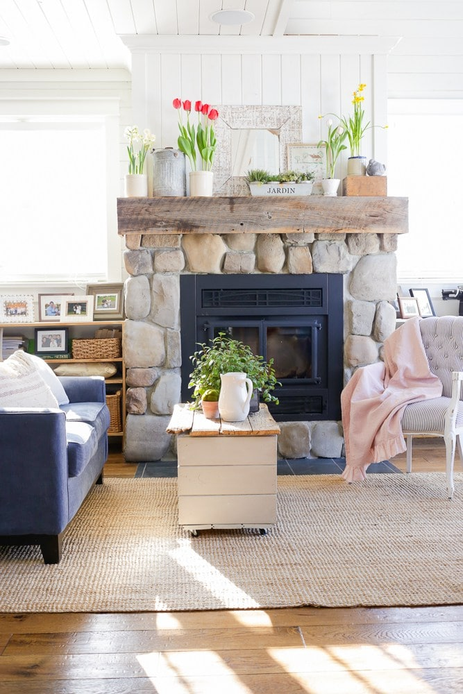 Spring mantel decor with tulips and daffodils