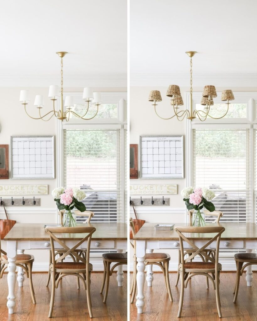 Side-by-side brass chandelier