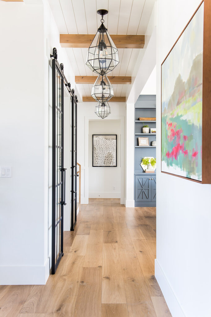 pendant lighting in hallway