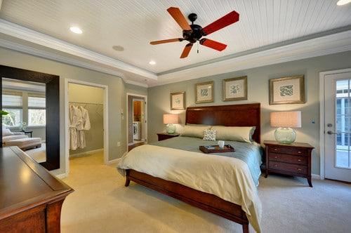 Bedroom painted in Comfort Gray
