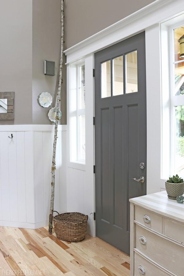 closeup of a gray interior door.