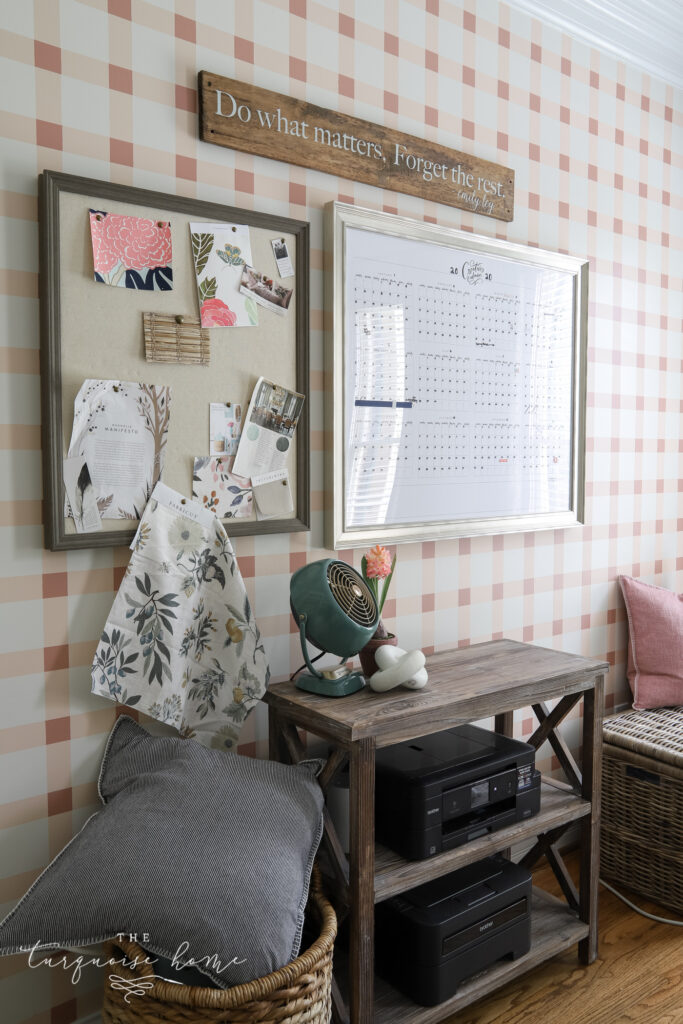 Plaid Pink Wall in Home Office