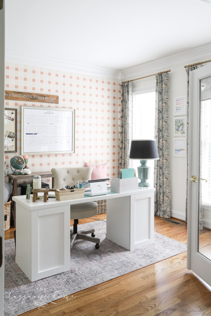 Blush and Brass Feminine Office Space