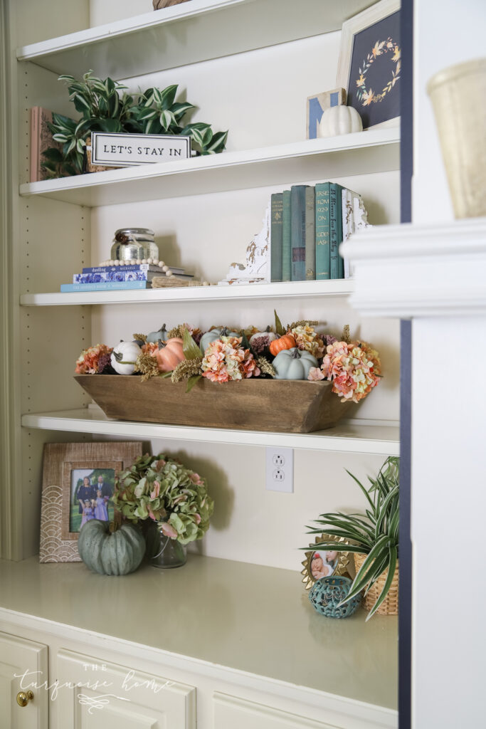 Built-in Bookshelves with Fall Decor