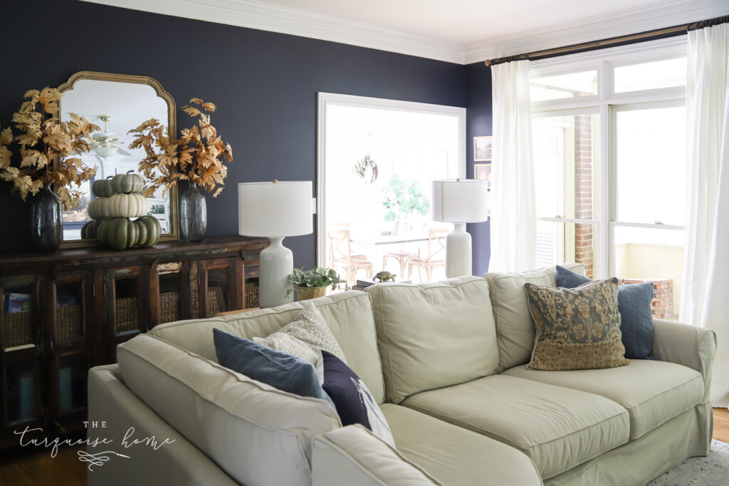 Fall living room with navy walls