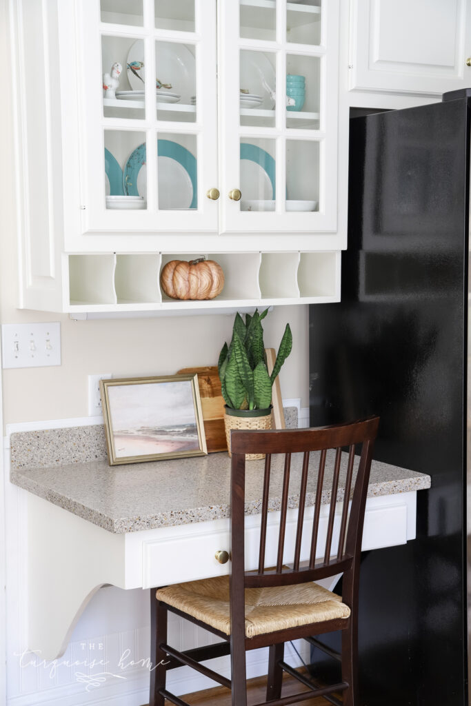 Kitchen Desk with Fall Decor