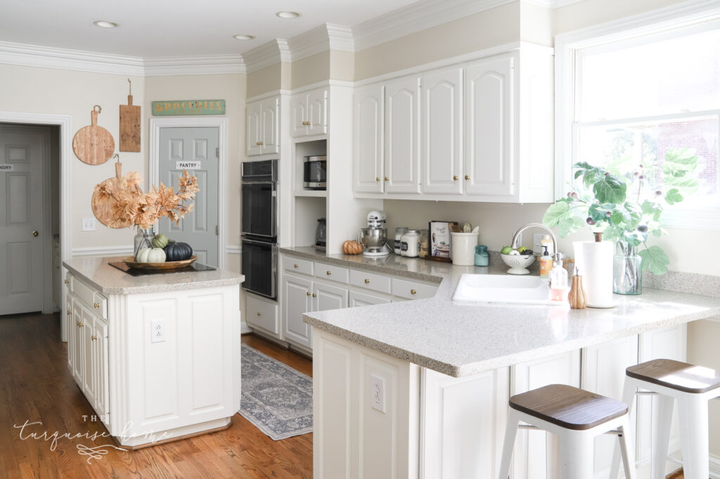 White Kitchen with Fall Decor