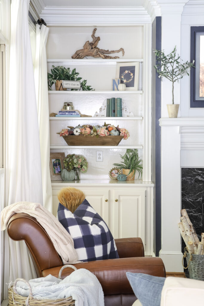 Built-In Shelves with Fall Decor