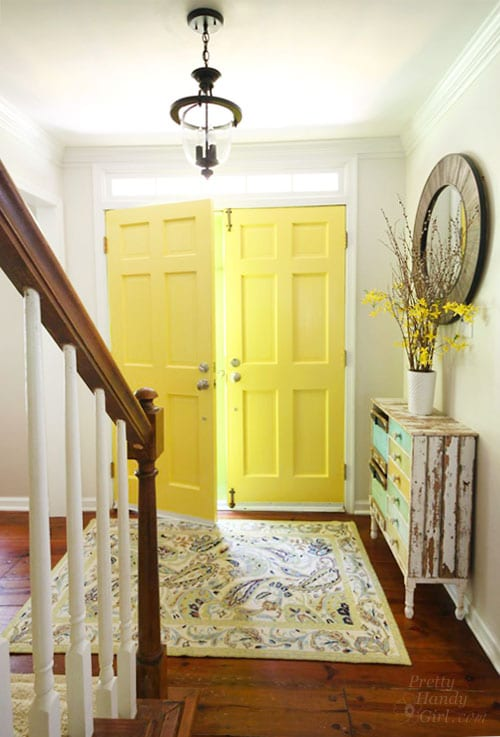 Entryway with Highlighter Yellow painted door