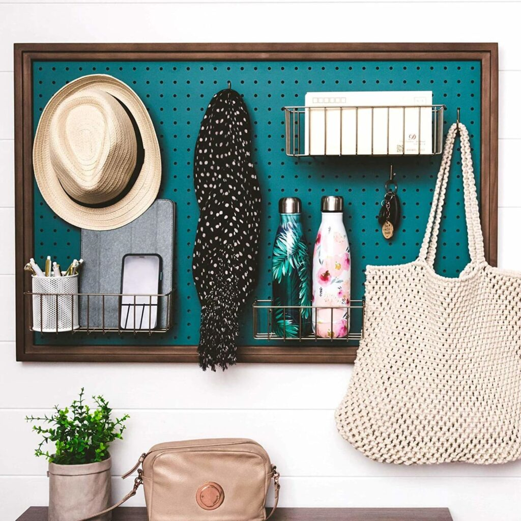 Peg board, hooks and baskets can store everything from hats and scarves to electronics and water bottles.