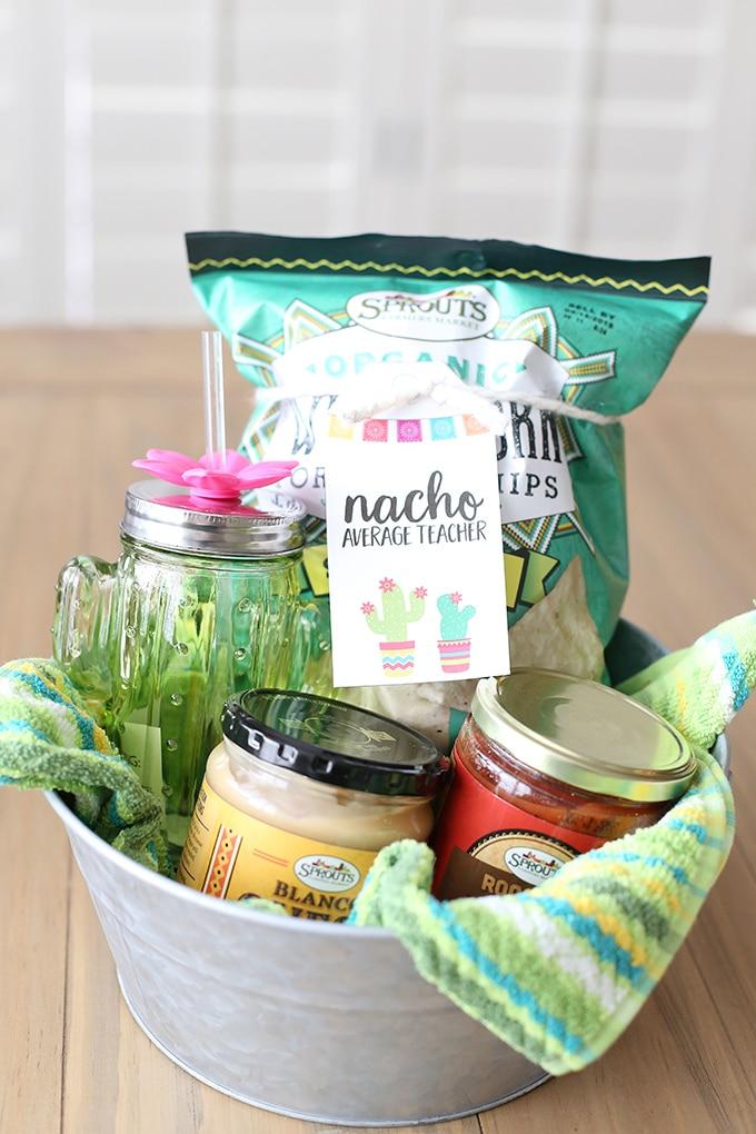 Teacher appreciation gift ideas: Nacho gift basket.