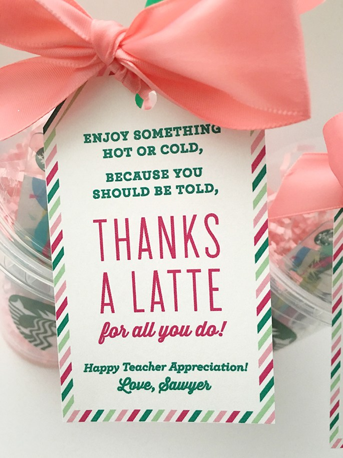 Thanks a latte teacher appreciation gift idea with Starbucks gift card.