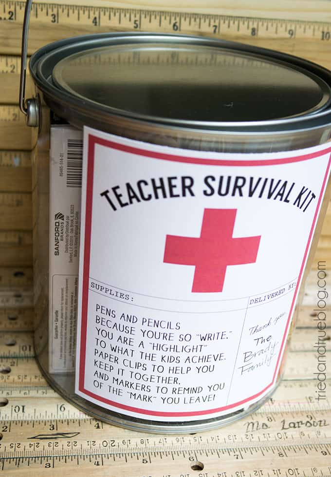 Teacher survival kit in decorative paint can with free printable label.