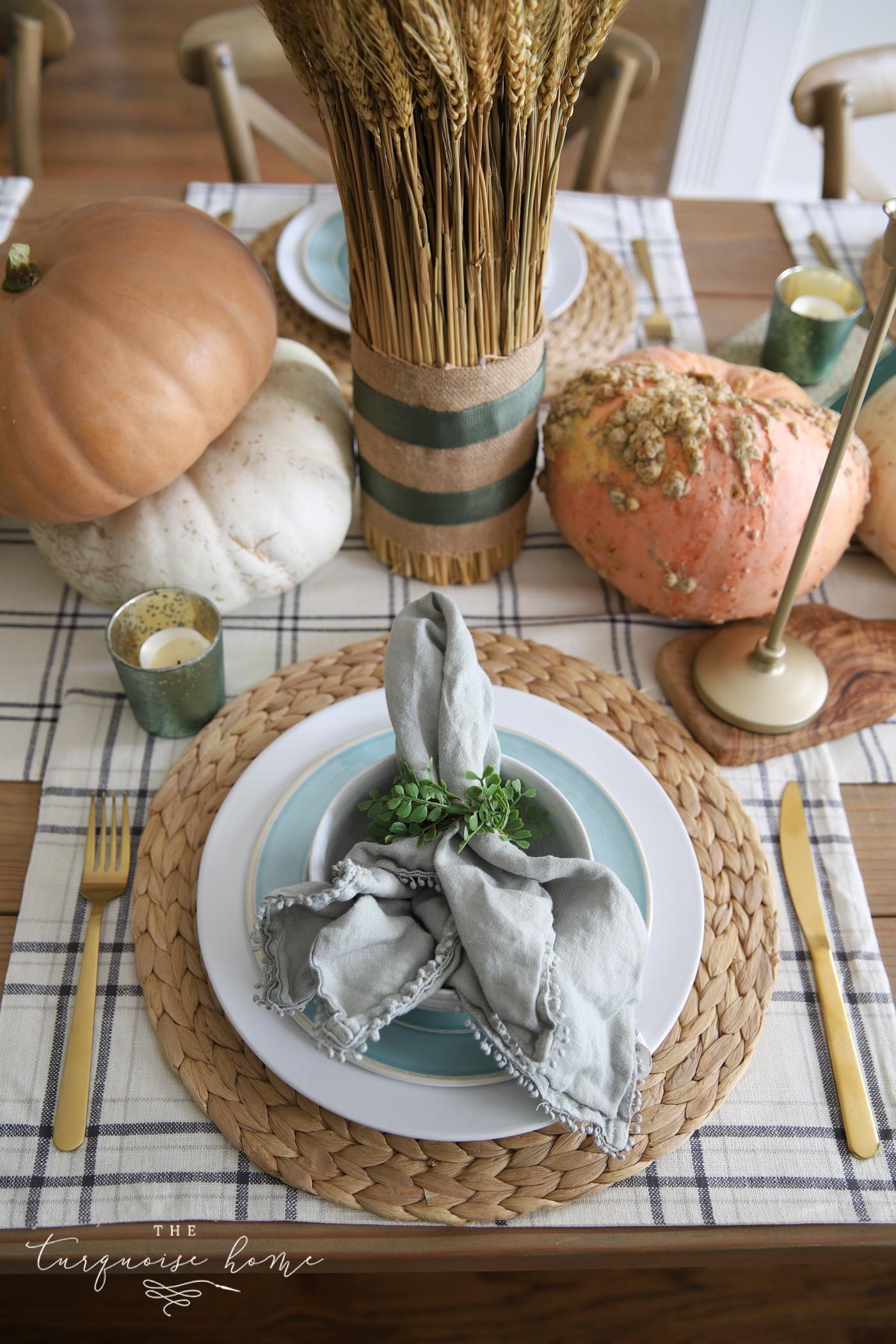 Simple, casual fall table setting
