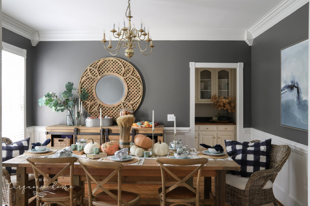 Kendall Charcoal Dining Room with Fall Decor